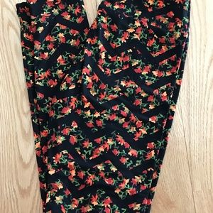 LuLaRoe OS Floral Chevron Leggings